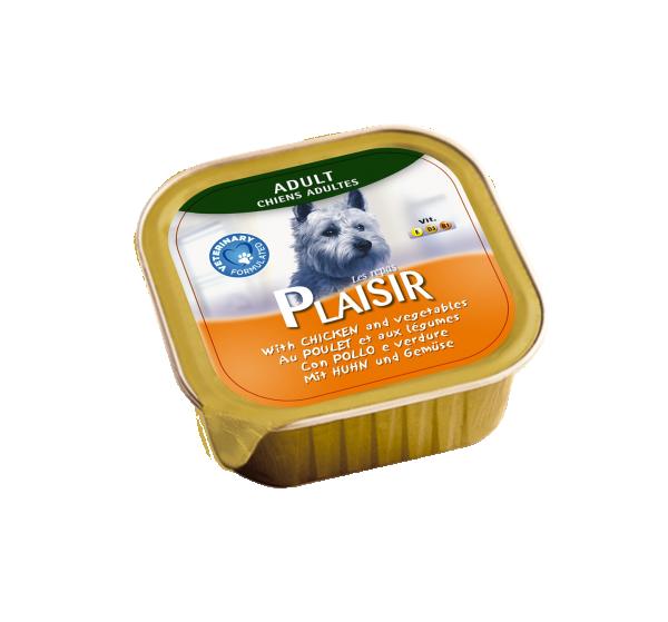 Plaisir pašteta Vlažna hrana za pse piletina i povrće 300g