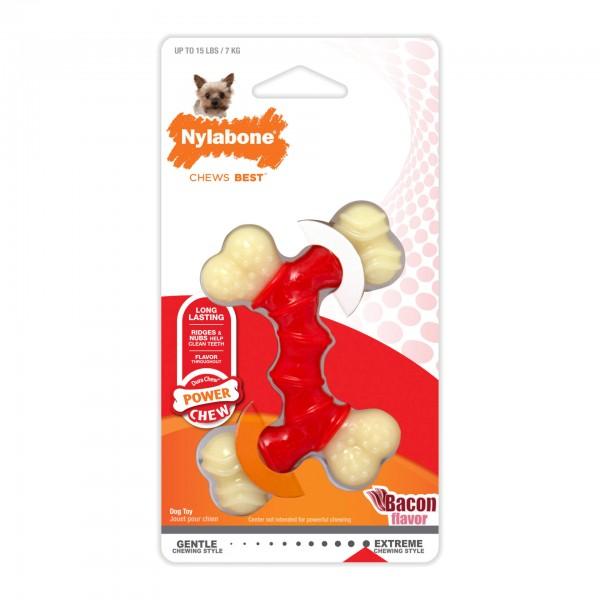 Nylabone Power Chew Igračka za žvakanje dupla kost, ukus slanina Xs