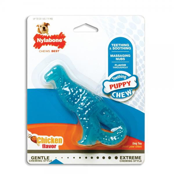Nylabone Puppy Chew Igračka za žvakanje za štence, za zube u obliku dinosaurusa ukus piletina S