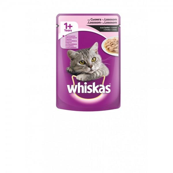 Whiskas Vlažna hrana Kesica za mačke 1+ godina, sa  lososom u sosu 100g
