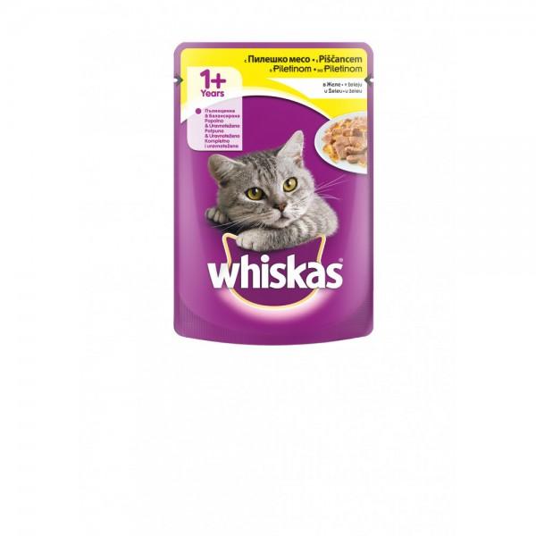 Whiskas Vlažna hrana Kesica za mačke 1+ godina, sa  piletinom u želeu 100g