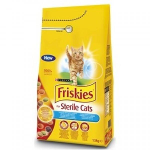 Friskies Briketi Suva hrana za mačke Sterile s lososom i povrćem1.5 Kg