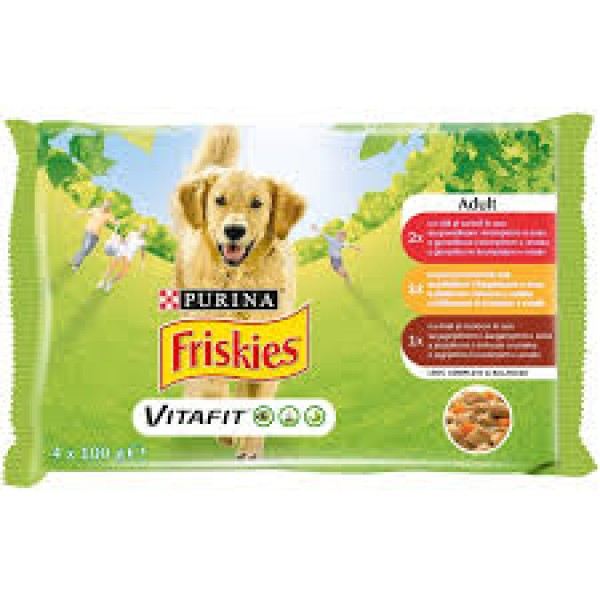 Friskies Multipack Vlažna hrana za pse Adult Govedina, Piletina i Jagnjetina u sosu 4x100g