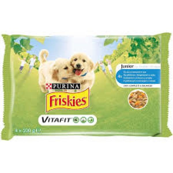 Friskies Multipack Vlažna hrana za štenad JUNIOR Piletina i Šargarepa u sosu 4x100g