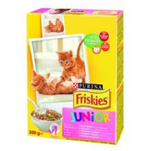 Friskies Briketi Suva hrana za mačiće JUNIOR Piletina, Mleko i Povrće 300g