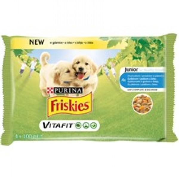 Friskies Multipack Vlažna hrana za štenad JUNIOR Piletina i Grašak u želeu 4x100g