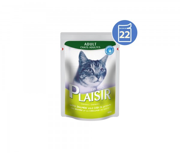 Plaisir preliv Vlažna hrana za mačke losos i bakalar 100g x 22kom pakovanje