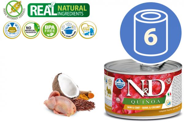 N&D Vlažna hrana Can Dog Quinoa Mini Quail&Coconut 140g x 6kom pakovanje