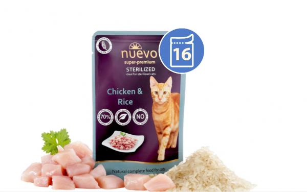 Nuevo SOS Vlažna hrana za stelirisanu mačku piletina i pirinač 85g x 16 kom. pakovanje
