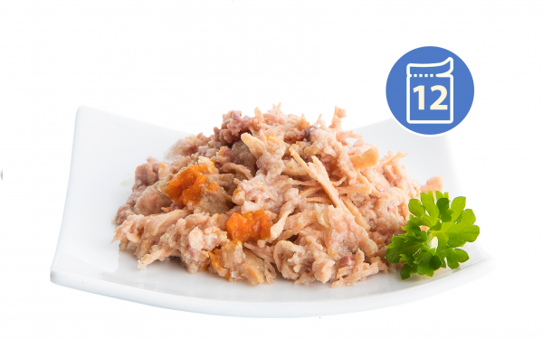 Nuevo FINEST Vlažna hrana pileći fileti sa lososom, šargarepom i uljem lososa 85g   x 12 kom. pakovanje