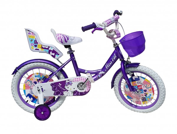 Dečija Bicika sa sedištem za lutku i korpom za igračke ''Miss Cat'' 16'' Model 709 Ljubičasti