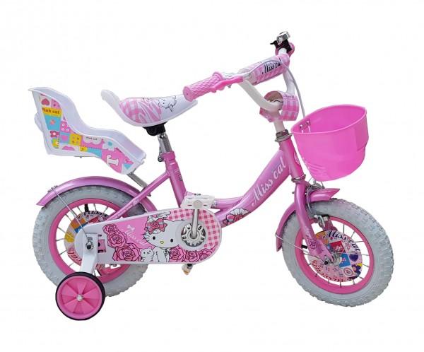 Dečija Bicika sa sedištem za lutku i korpom za igračke ''Miss Cat'' 12'' Model 708 Ljubičasti
