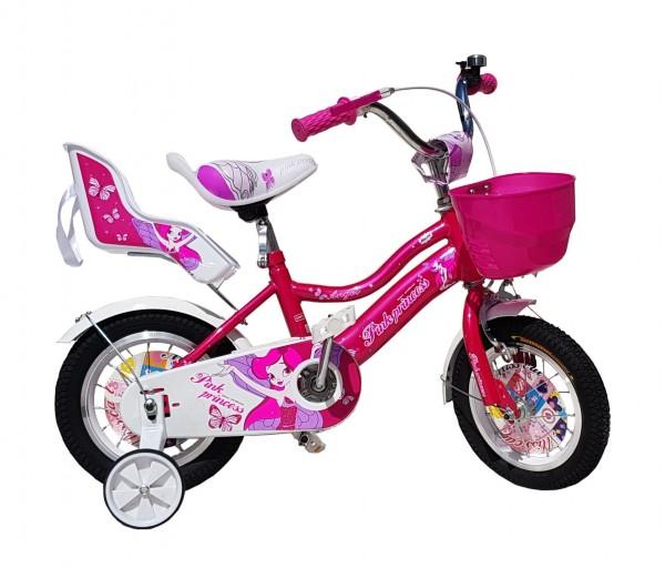 Dečija Bicika sa sedištem za lutku i korpom za igračke ''Pink Princess'' 12'' Model 710 Roze