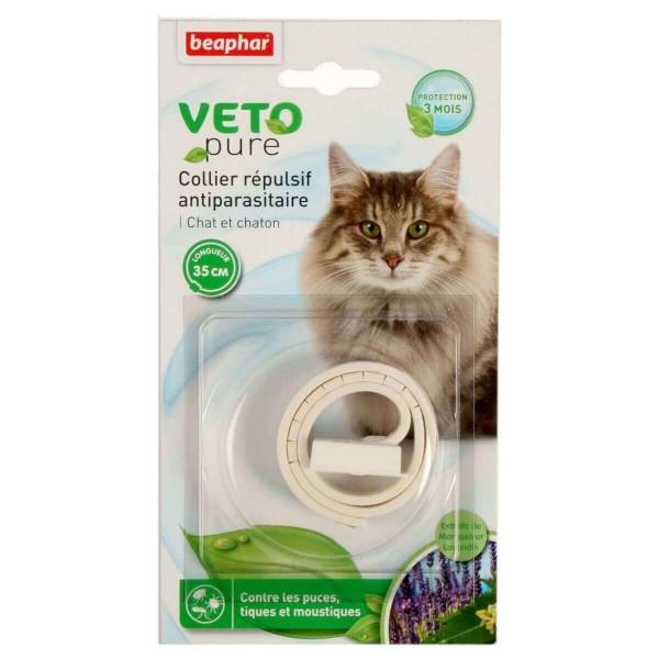 Beaphar Veto pure cat Neem beige - Ogrlica za mačke i mačiće protiv buva, krpelja i komaraca (bež boja)