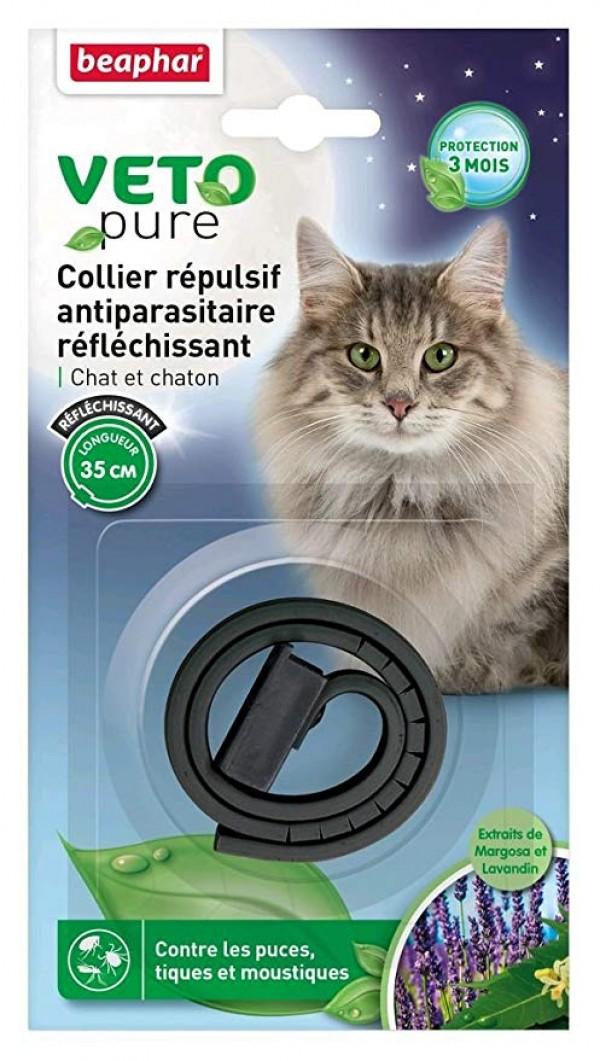 Beaphar Veto pure cat Neem black  reflecting - Ogrlica za mačke i mačiće protiv buva, krpelja i komaraca (crna boja)