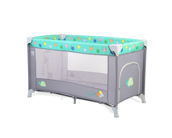 Prenosivi krevetac za bebe ''Safari'' tirkizno-sivi