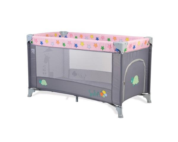 Prenosivi krevetac za bebe ''Safari'' pink-sivi