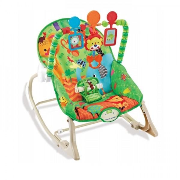 Ležaljka - Majčino krilo za bebe i decu do 18 kg Zelena sa muzikom i vibracijom