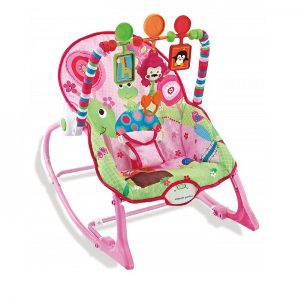 Ležaljka - Majčino krilo za bebe i decu do 18 kg Pink sa muzikom i vibracijom
