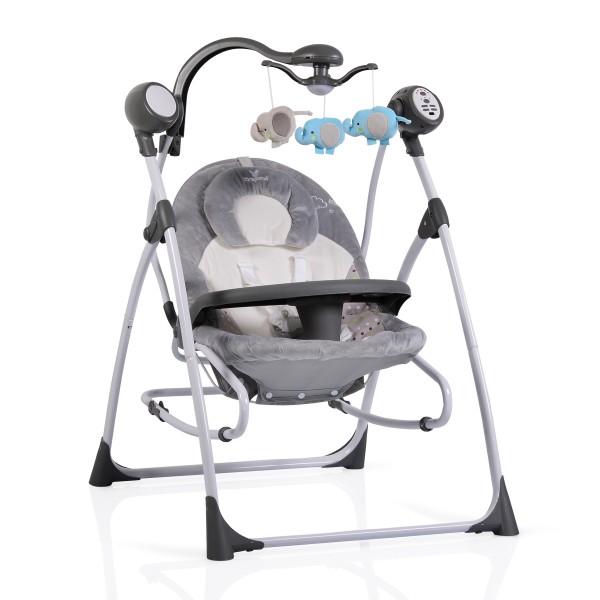 Ljuljaška - Majčino krilo za bebe ''Swing  Star'' Siva 2 in 1 sa daljinskim upravljačem