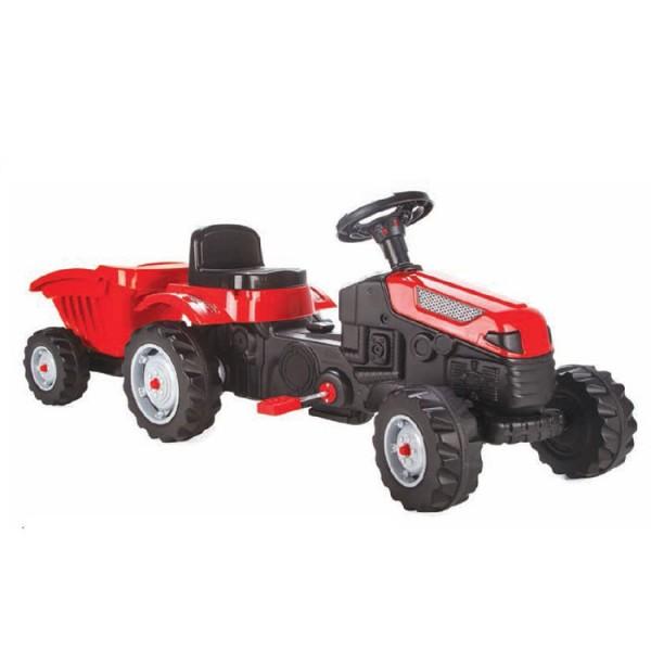 Dečiji traktor sa pedalama i prikolicom Pilsan ''Active'' Crveni