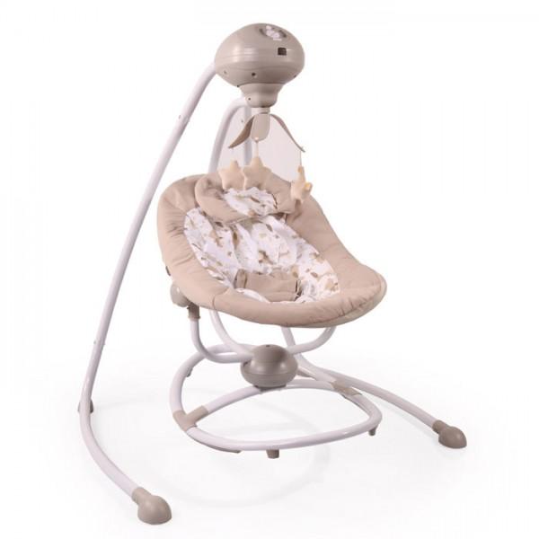 Ljuljaška - Majčino krilo za bebe ''Woodsy'' 2in1 Bež sa rotacijom i daljinskim