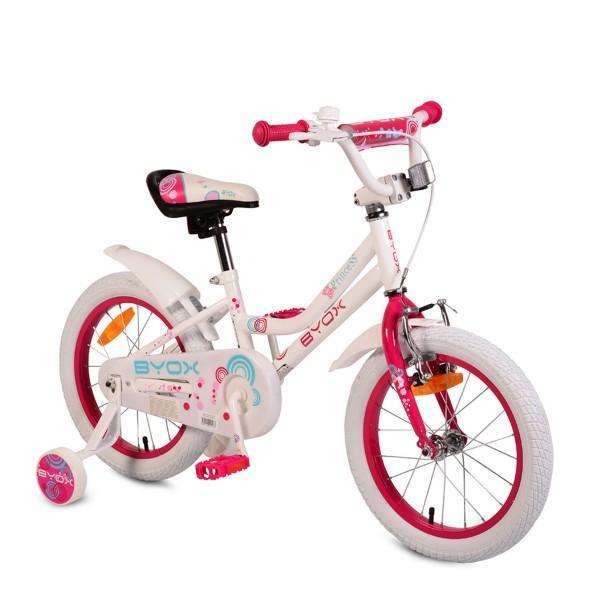 Bicikla za decu sa pomoćnim točkovima Byox White Princess 16''